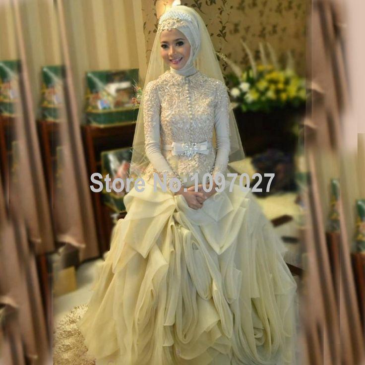 Cheap Palla Abito Collo Alto Hijab Musulmano Abito Da Sposa Abito Da Sposa In…