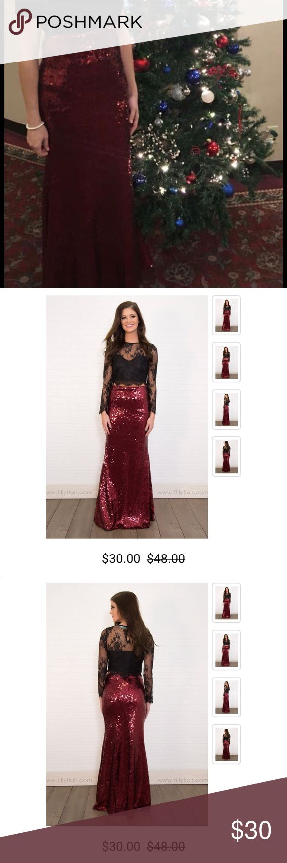 Filly Flair Red Holiday Sequin Skirt New Medium ❤️ Gorgeous red sequin skirt from Filly Flair! Never worn! Perfect for that holiday party! ❤️❤️❤️  Buy 4 get 1 free! Lowest priced item is free! ❤️ I have lots of clearance items and beauty accessories to choose from! ❤️❤️❤️ Filly Flair Skirts Maxi