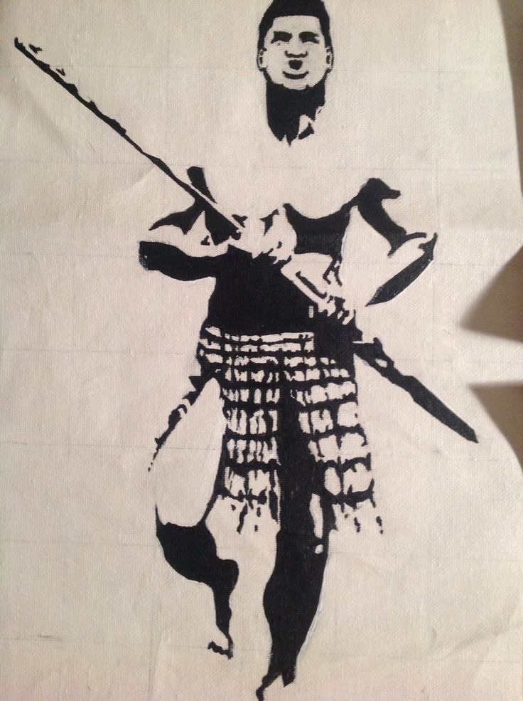 Warrior with taiaha. Black and white on canvas