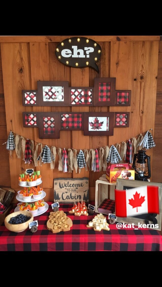 Canadian Themed Cabin Party: Was a Dinner Jacket 3rd Birthday party for my son.....but totally will be the backdrop for our #Canadaday150 festivities! 🇨🇦
