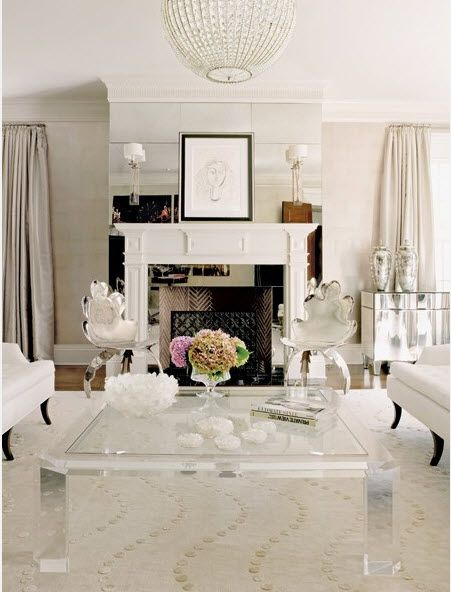 Superb All White Living Room Home And Garden Design Ideas Lucite Table