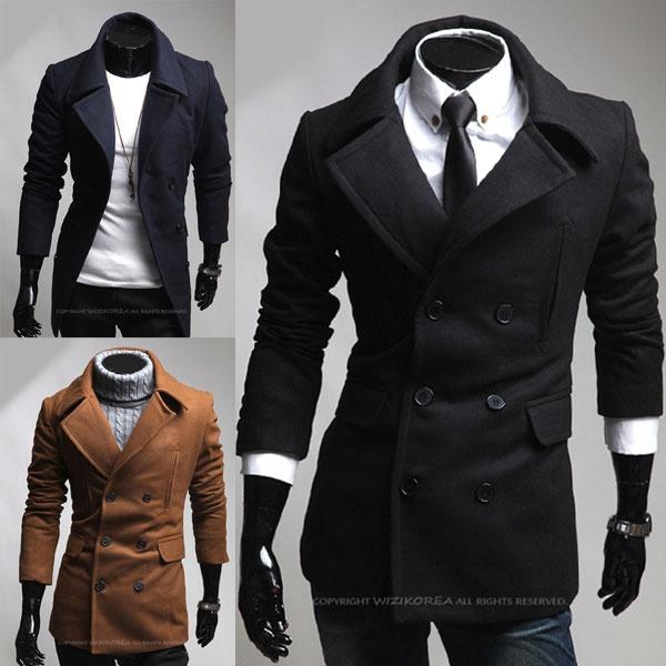 Mens Casual Slim Double Pea Long Trench Coat Peacoat Jacket 3 Colors M1751   eBay