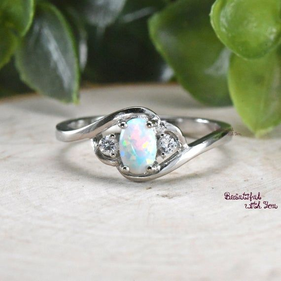 Rose Gold Plated Womens Wedding Ring Unique Opal Ring Opal Ring Rose Gold Womens Opal Ring Bypass Womens Wedding Band Opal Gift Ideas