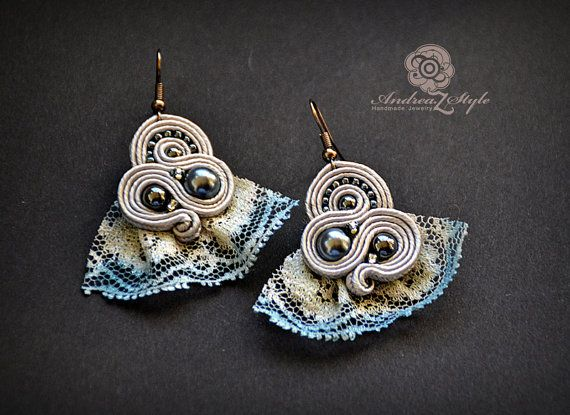 Grey soutache earrings with dyed lace