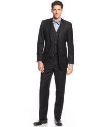 Pánské Black třídílný oblek, bílá košile, černá kůže Mokasíny, Black Plaid Tie | Pánská móda
