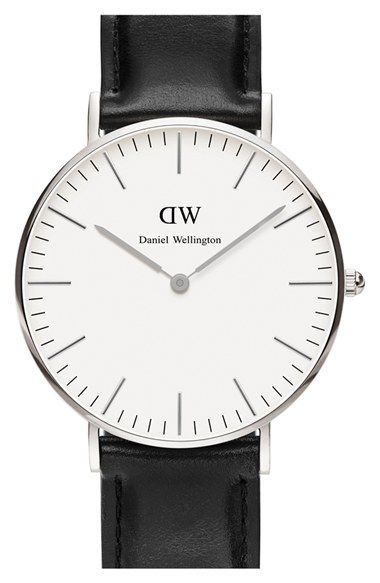 Daniel Wellington 'Classic Sheffield' Leather Strap Watch, 36mm available at #Nordstrom