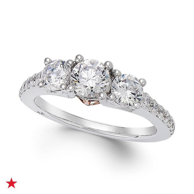 stunning this gorgeous marchesa ring features three center full cut diamonds - Macy Wedding Rings