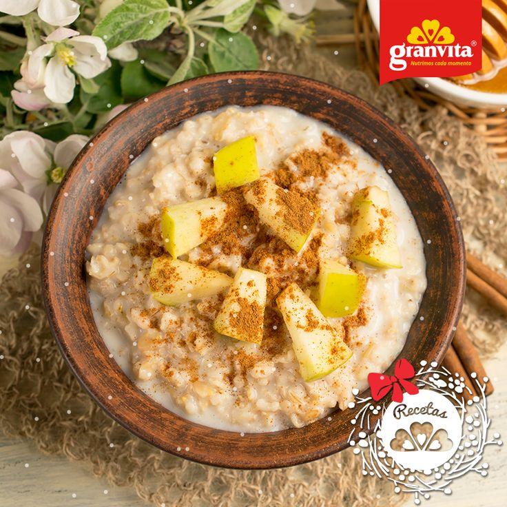 #Receta: Hojuelas de Avena Granvita con manzana. 🍎 Suave y calientita para el desayuno.