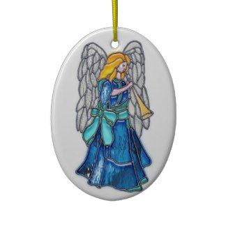 Angel with Trumpet Stained Glass Christmas Tree Ornament
