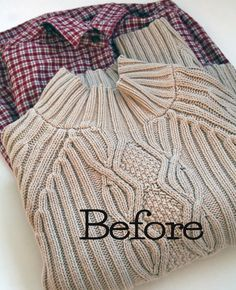 Up cycle a thrift store pullover sweater to cardigan with this easy to follow photo tutorial by the Renegade Seamstress