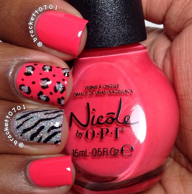 Leopard and Zebra Print Nails. Nicole by Opi The Coral Of The Story and China Glaze Glistening Snow.
