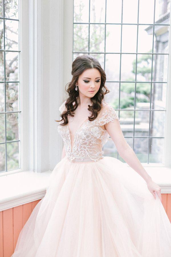 Pale blush beaded wedding dress: http://www.stylemepretty.com/canada-weddings/british-columbia/vancouver/2016/08/03/mint-cream-mustard-wedding-color-palette/ | Photography: Kim James Photography - http://kim-james.com/