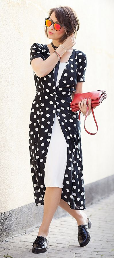 polka dots shirt dress | komono red mirrored sunglasses | celine trio bag | summer outfit ideas | dress outfits | ellena galant girl