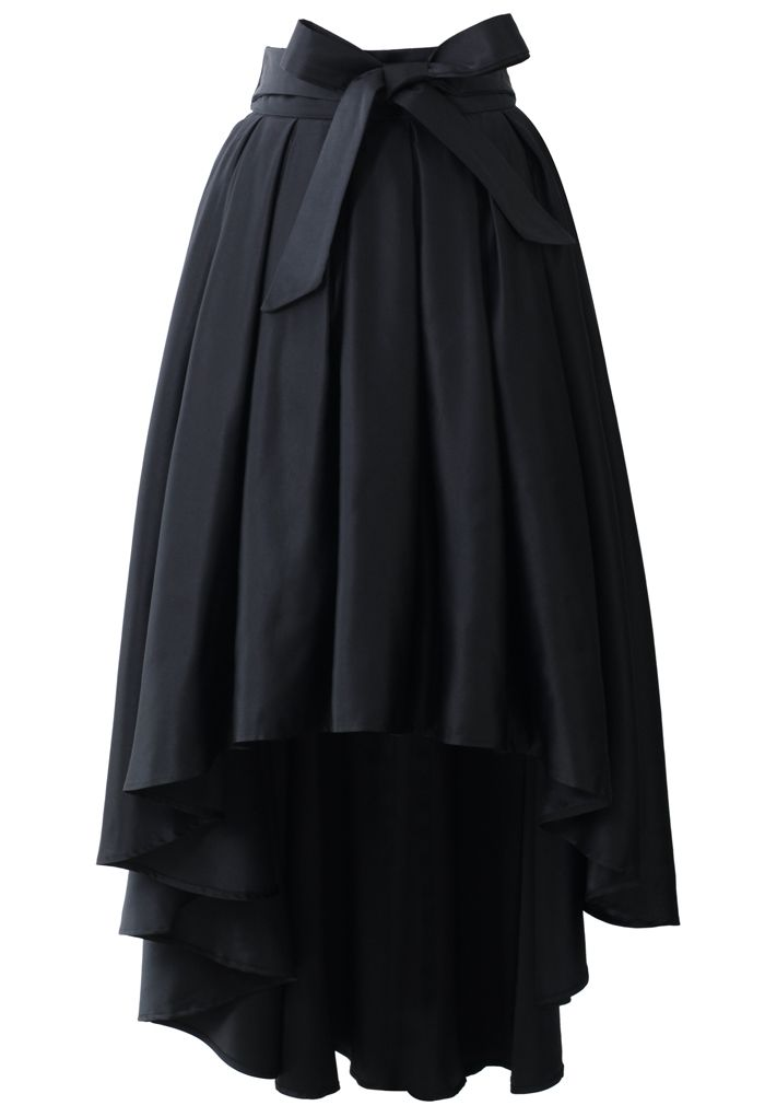 Bowknot Asymmetric Waterfall Skirt in Black - Skirt - Bottoms - Retro, Indie and Unique Fashion