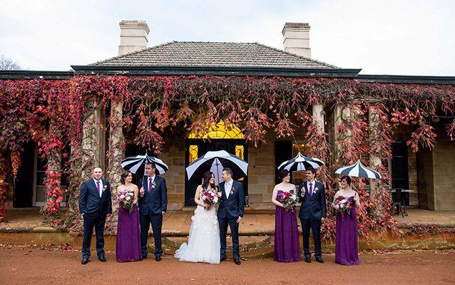 Southern highlands celebration among the autumn leaves. Image: Solas Wedding & Portrait Photography