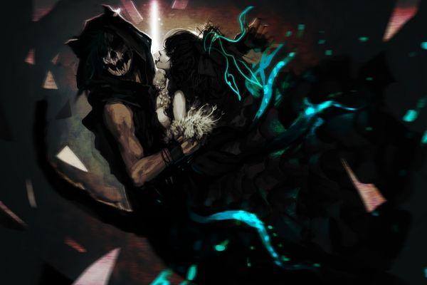 Обои арт, genki-de, монстр, парень, девушка, хвост картинки   3251х2157 пикселей