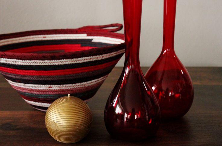 Multicolour Bohochic Basket, Round Handmade Basket, Modern Basket/Bowl, Xmas Decor Basket by Annas7Closet on Etsy