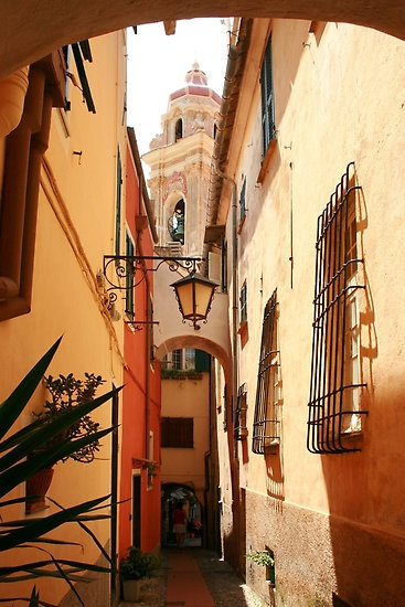 Narrow street leading to the church  CERVO Province of (Imperia) Liguria Italy byPaul Pasco
