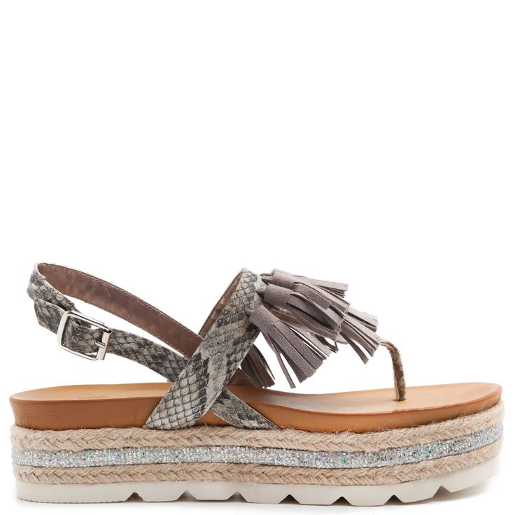 Grey flatform with tassels and snakeskin texture