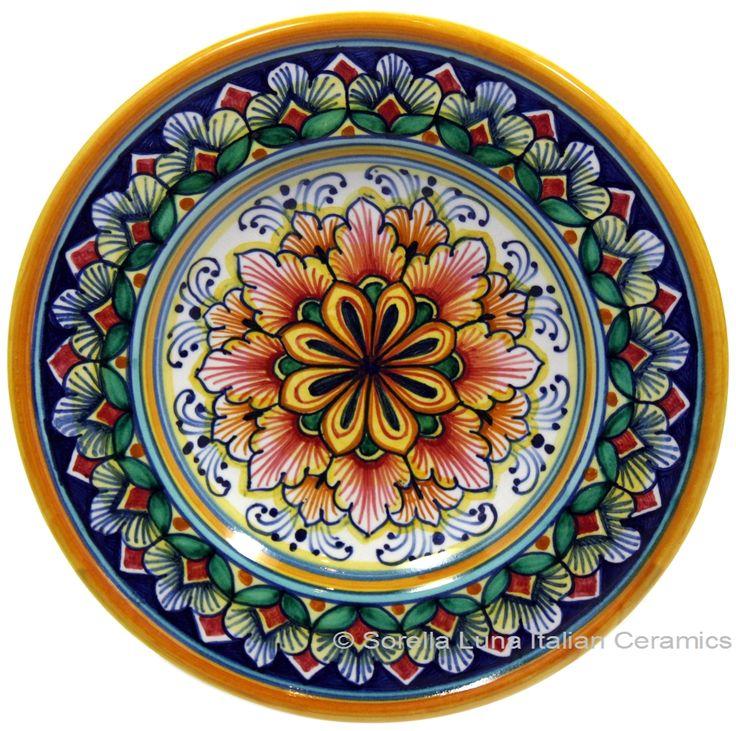 Italian+Majolica+Pottery+ +Ceramic+Majolica+Dipping+Plate+Red+Green+15cm