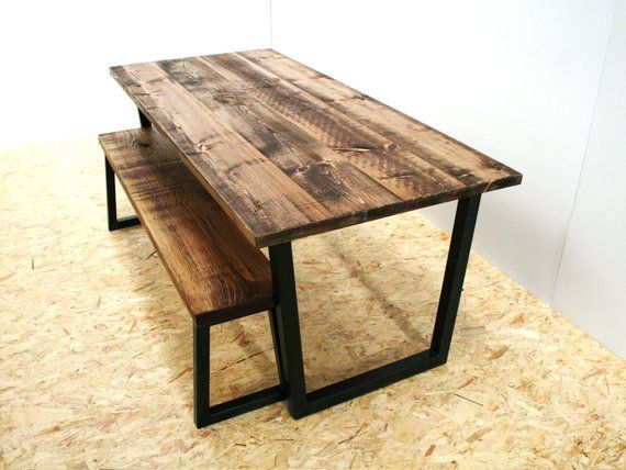 Rustic dining table and Bench Black metal legs in 2019 ...