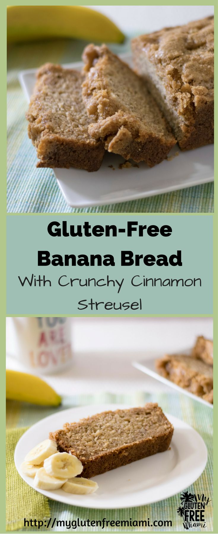 This gluten free banana bread will make everyone say yum! Delicious and moist bread with a crunchy cinnamon streusel topping. Makes a great breakfast or snack any time of day. No one will ever know it's gluten free until you tell them!