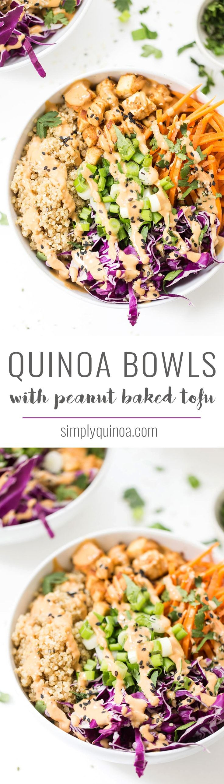 Kick your dinner up a notch with these ASIAN QUINOA BOWLS! With fluffy ginger quinoa, crunchy veggies, crispy baked tofu and a creamy peanut sauce! with @almondbreeze #ad