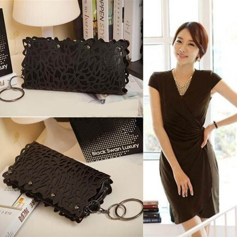 This bag is of good quality and nice design, the hollow design is popular and fashionable, it can be a clutch bag or a shoulder bag, the chain strap is beautiful, black is a classic and all-matched color, so it's a good choice for you.  Details: Material : PU                                   ...