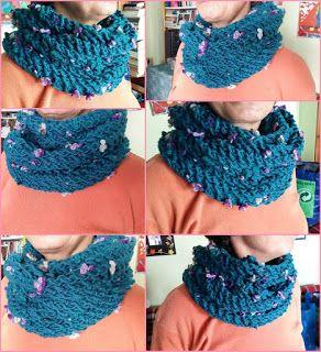 Blue Flower Knitting Cowl - Μπλέ Λουλουδένιος Πλεκτός Γιακάς | Marieta's Yarnland