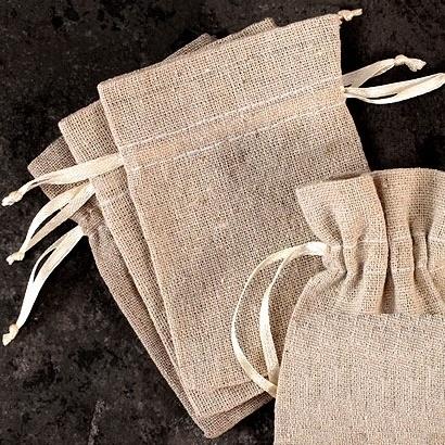 Mini Linen Drawstring Favor Bag (Set of 12)
