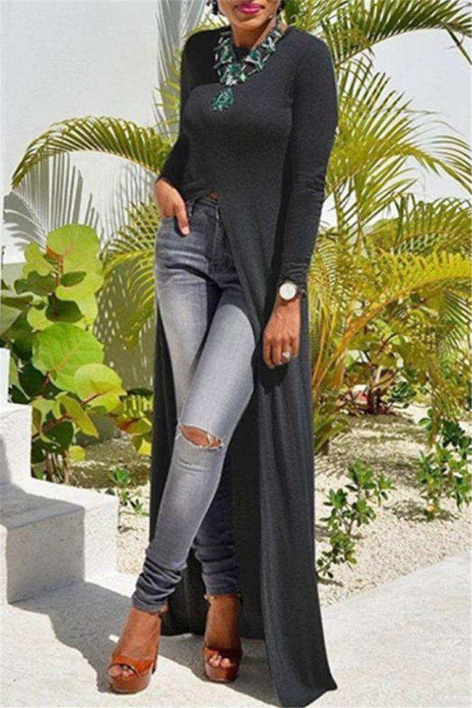 50426d1860 High Split Long Maxi Over Pants Dress