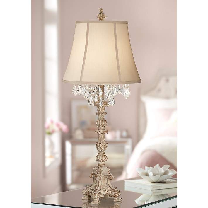 Duval French Crystal Candlestick Table Lamp 6t439 Lamps Plus In 2020 Candlestick Table Shabby Chic Lamp Shades Cottage Table