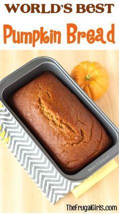 World's Best Pumpkin Bread Recipe! ~ from TheFrugalGirls.com ~ my family LOVES…