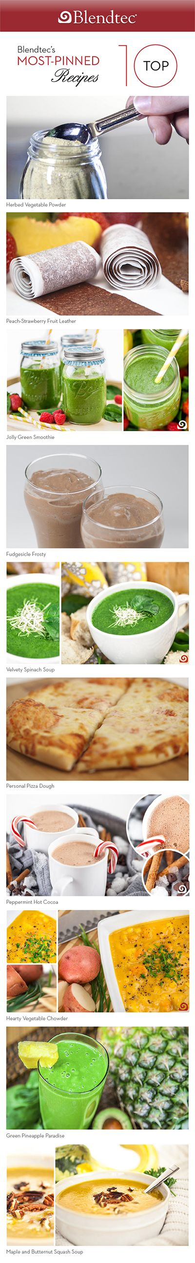 We love getting inspiration for our blender recipes from Pinterest. Click here to see Blendtec's most pinned recipes.