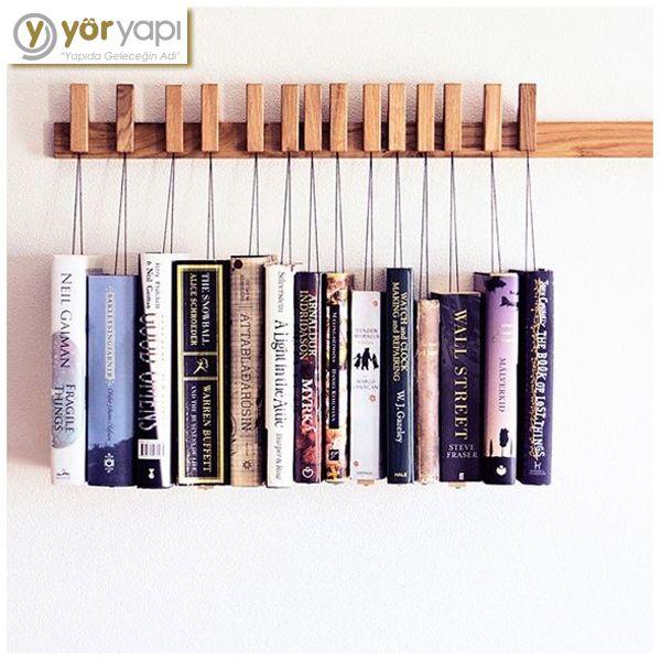 Bir başka kitaplık tasarımı örneğimiz… Askıda kitap! #kitaplık #bookshelf #design #dizayn #decoration #dekorasyon #weird #odd
