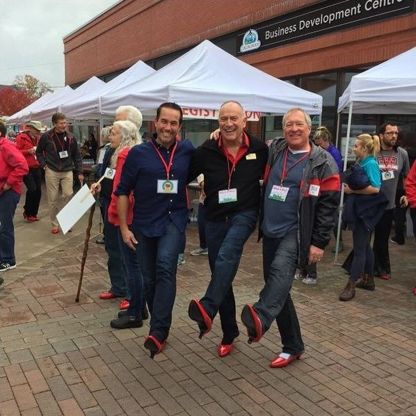 Thank you to everyone who was a part of, organized, sponsored, cheered on, or walked the walk in this year's Walk A Mile In Her Shoes in support of My Friend's House. Big cheers for these guys - Greg Syrota, Fran Webster & Graig King. #TBT #WalkAMile #MyFriendsHouse #RoyalLePageTrinity