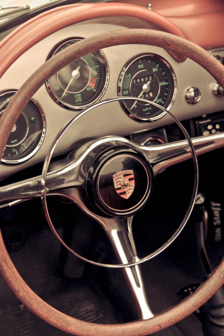 Great big steering wheels with an inner horn rim and always a beautiful medalian logo in the center.