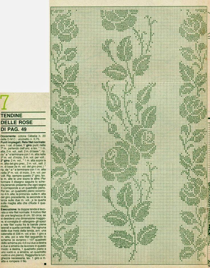 Professione Donna: Schemi per il filet: Tendine in fiore