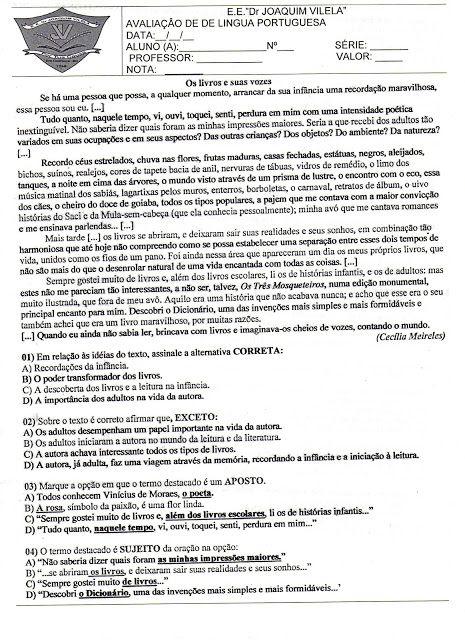 ATIVIDADES DIVERSAS CLÁUDIA: Avaliação de Língua Portuguesa 2