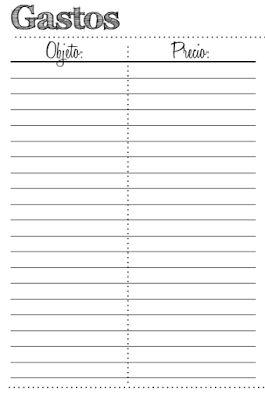 Gastos printable gratis agenda planner Belle in Love