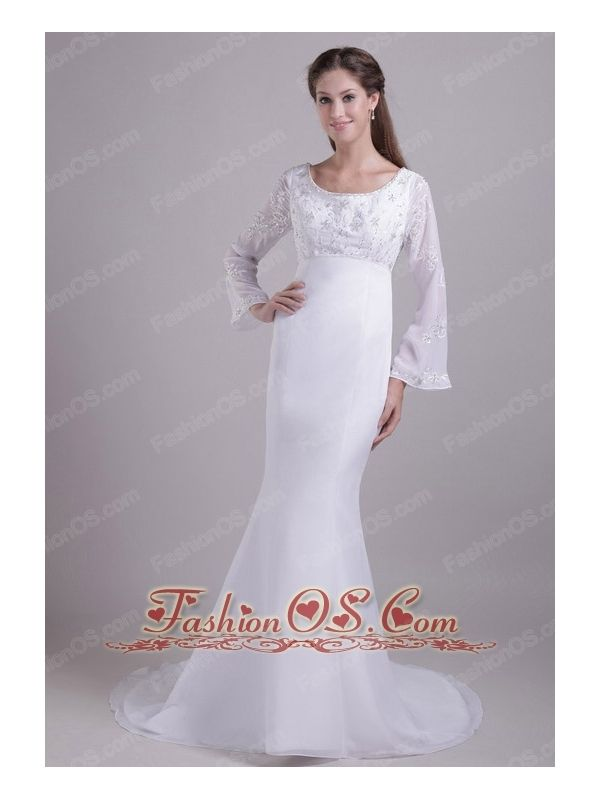 Traditional Trumpet / Mermaid Scoop Brush Train Chiffon and Satin Embroidery Wedding Dress  http://www.fashionos.com  This graceful wedding dress features scoop neckline with two long flared sleeves, the dress was accented with embroidery and beadings in the bust and sleeves.This dress has elegent lace closure, sweep train.