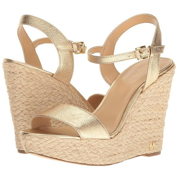 MICHAEL Michael Kors Jill Wedge (Pale Gold Pebble Metallic) Women's... (180 CAD) ❤ liked on Polyvore featuring shoes, sandals, metallic platform sandals, ankle strap sandals, ankle strap high heel sandals, gold wedges shoes and gold wedge sandals