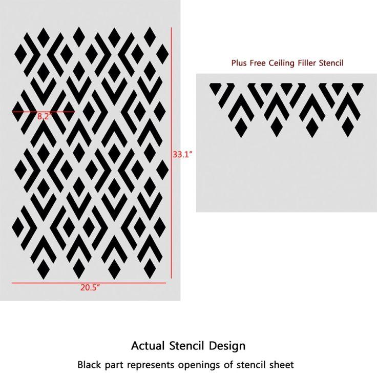 geometric pattern stencil | Geometric Stencils Pattern Elaine reusable Modern style for DIY easy ...