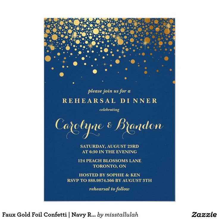 618 best wedding elegant invitations images on pinterest faux gold foil confetti navy rehearsal dinner invitation stopboris Choice Image