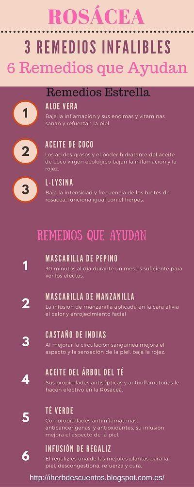 3 Remedios infalibles para la rosácea o ·enrojecimiento facial #infografía #infografia