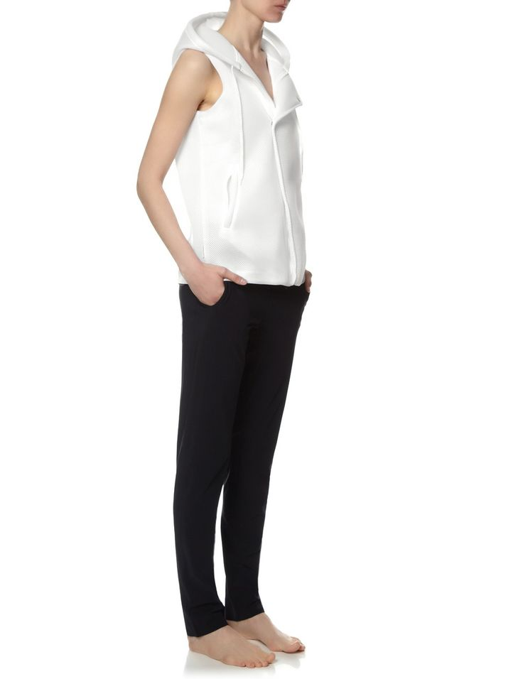 White Perforated Hooded Vest | Lucas Hugh | Avenue32.com | Love everything about this vest!