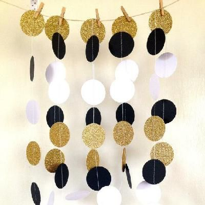 Great Gatsby Themed Wedding Garland, Paper Garland Black and White Bridal Shower, Baby Shower, Birthday Party, Party Decor, Gold Glitter on Partyology
