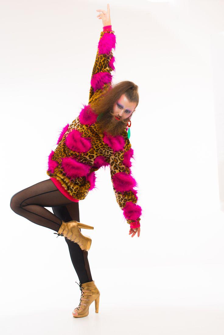 "PIMP IT BITCH AW16 - GET YA HANDS ON IT RANGE - ""Heart Attack"" Unisex Jumper.  Model - Daniel Newell, MUA - Lou McLaren, Catsuit - Edgeley, Accessories - Doodad & Fandango, Photo - Evan Fowler Photography"