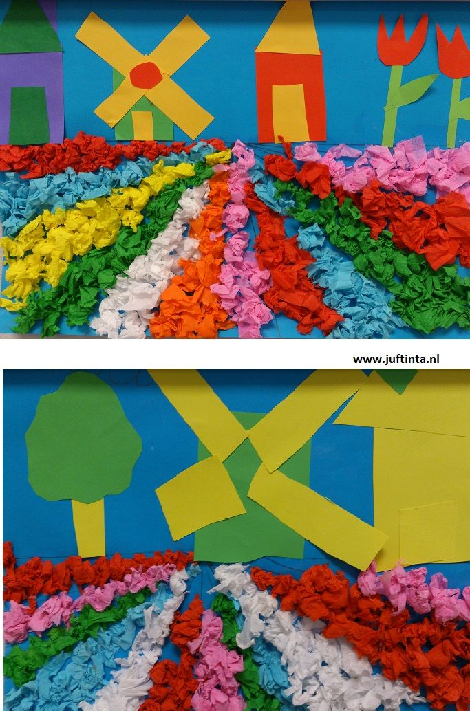 Flower Fields crafts for kids Spring In the spring you can see the beautiful flower fields in some regions After looking at a number of pictures of this love to recreate it yourself. First, there is drawn a horizontal line at about half of the leaf. Then you draw vertical lines to the center point of this line. Now, the boxes can be filled with balls of paper mache. Above the line can be pieced a Dutch scene. Thanks to Mrs. Annemiek!