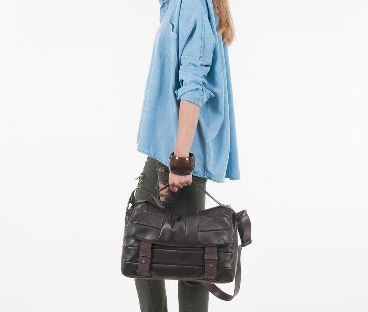 CARLOTTA bag _ Fall/Winter Collection  Color Dark Brown  Perfect as handbag or shoulder bag  Click Wish & Shop!   BAG's AMORE  #onlineshop #bgs #fashion #women #madeinitaly